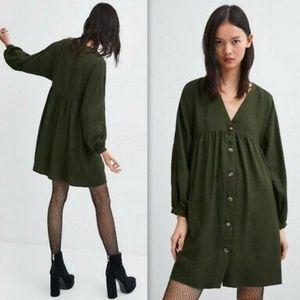 Zara TRF Khaki Green Buttoned Babydoll Dress